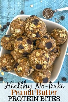 Healthy No-Bake Peanut Butter Protein Bites Easy to make and super delicious make ahead breakfast or snack option! These Protein Bites are kid-friendly, customizable, and sure to be a hit with your family. Healthy Protein Snacks, Protein Bites, Healthy Sweets, Healthy Baking, Healthy Energy Bites, Homemade Protein Bars, High Protein Snacks On The Go, Simple Healthy Snacks, Healthy Gluten Free Snacks