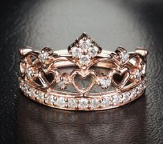 Unique 14K Rose Gold Heart Crown Engagement Ring by TheLOGR