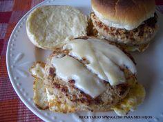 Recetario Spanglish para mis hijos: Hamburguesas de carnitas de cerdo adobadas con salsa New Orleans