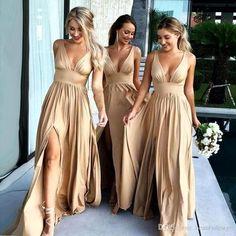 Champagne v neck long prom dress, champagne bridesmaid dress - / picture color Champagne Bridesmaid Dresses, Gold Bridesmaids, Wedding Bridesmaid Dresses, Champagne Dress, Champagne Beach, Dress Wedding, Champagne Color, Bride Maid Dresses, Metallic Bridesmaid Dresses