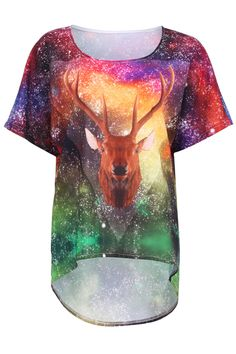 Galaxy Deer Head Print T-shirt #Romwe