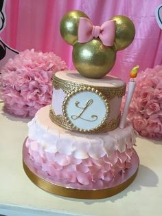 """Remember watching """"A Mickey Mouse Cartoon"""" and wishing your were Minnie Mouse for at least a day? You won't regret a Minnie Mouse quinceanera theme! Bolo Da Minnie Mouse, Mickey And Minnie Cake, Minnie Mouse Birthday Cakes, Mickey Cakes, Mickey Mouse Parties, Birthday Cake Girls, Baby Birthday, 1st Birthday Parties, Disney Mickey"""