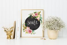 Smile Print-Smile-Chalkboard Print-Floral Chalkboard Print-Watercolor Flowers-Rose Print-Inspirational Print-Instant Download-Wall Art Decor by ThePaperWildflower on Etsy