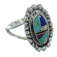 Multicolor Inlay Southwestern Silver Ring Size 8 YX84387
