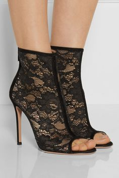 GIANVITO ROSSI Suede-trimmed lace ankle boots |  $1010 BUY ➜ http://shoespost.com/gianvito-rossi-suede-trimmed-lace-ankle-boots/ Trimmed in soft suede, Gianvito Rossi's hand-finished lace ankle boots are just the style to take evening looks from classic to contemporary. These open-toe shoes have smooth leather insoles and a lightweight feel. Work yours with a little black dress and gold accents.