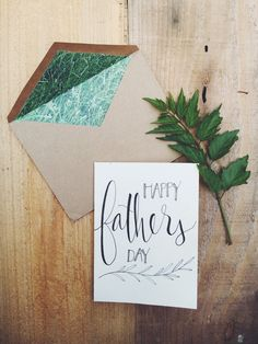 hand-lettered happy Father's Day card door youmightfallinlove