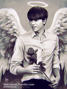 Angel Hyun! (he looked so cute with the angel wings at that fansign *u*) Playing with new techniques and brushes again ^^ Companion piece to my Gyu pic XD