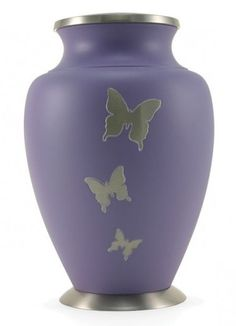 Adult 200 Cubic Inch Brass Purple Butterfly Funeral Cremation Urn for Ashes
