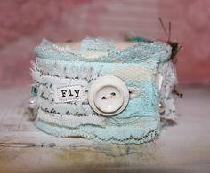 Retro Café Art Gallery: Bird Fabric Cuff Bracelet