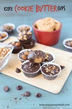 Dark chocolate cups filled with cookie butter filling, and topped with fun toppings like toffee, almonds, pecans, and large crystal salt. The perfect not-too-bad for you indulgent treat! EZPZ Cookie Butter Cups