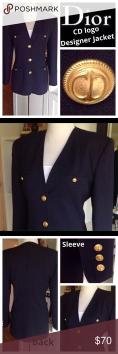 "DIOR Vintage navy blazer /Dior logo buttons Vintage, stunning Dior! Fully lined, beautiful rich Navy blue color, 2 breast pockets, 2 font pockets & cuffs all adorned w/ gold Dior logo buttons. No mistaking it, everyone will know you're wearing Dior! NOTE: this blazer looks big on manniguin because this is a size 8 on a small manniquin. Great condition! 100% wool. Approx measurements laying flat: shoulder to shoulder: 18""/ armpit to armpit:19""/ waist:16 1/2""/ shoulder to hem:28""/ armpit to…"