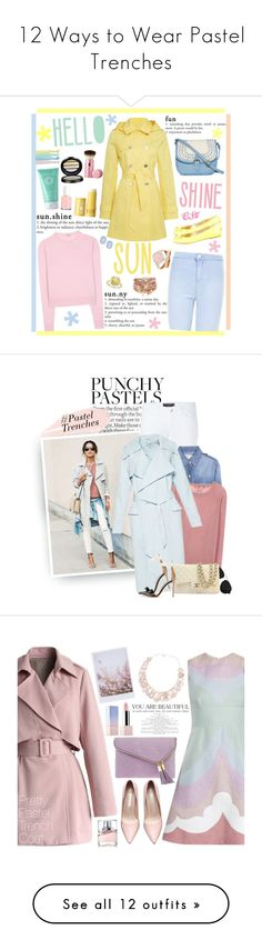 """""""12 Ways to Wear Pastel Trenches"""" by polyvore-editorial ❤ liked on Polyvore featuring waystowear, pasteltrench, Lauren Ralph Lauren, Origins, Clinique, Miu Miu, T-shirt & Jeans, Jimmy Choo, Too Faced Cosmetics and Essie"""