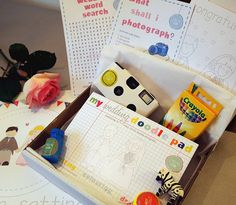 Fun Wedding Reception Activities: kids activity kits including coloring book, crayons, disposable camera and more