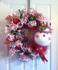Snowman Wreath/ WREATH SALE  Deco Mesh by Wreaths4u2byPaula
