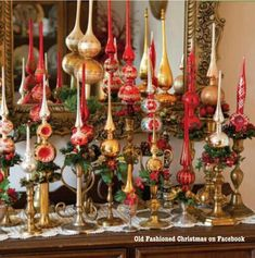 Vintage tree toppers on candlesticks