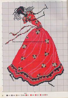 Red Dress African Woman Dancing Cross Stitch Pattern GRAFICOS PUNTO DE CRUZ GRATIS : AFRICANAS(24) 1/1