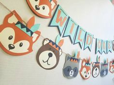 Wild one birthday tribal animals tribal woodland party wild one banner indian baby indian native american wild one fox bear Indian Birthday Parties, Wild One Birthday Party, First Birthday Parties, First Birthdays, Party Animals, Animal Party, Fox Party, Baby Shower Decorations For Boys, Boy Baby Shower Themes