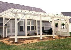 pergola on front porch | Large pergola over patio area