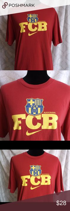 Nike Futbol Barcelona FCB team T-Shirt L Nike Futbol Barcelona FCB team T-Shirt L  Nike line of shirts for Football Club Barcelona  FC Barcelona also known as Blaugrana The FC Barcelona Crest over FCB with Swoosh  Men's L 100% Cotton  Machine Wash Inside Out  Please let me know if you have any questions…. HAPPY to receive reasonable offers and encourage BUNDLES!! Thank you for visiting my closet! Nike Shirts Tees - Short Sleeve