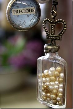 So pretty. I put pearls in jars like this. The pearls to remind me of my Mom. She loved pearls.,
