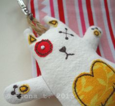embroidered zombie kitten - yellow