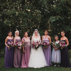 Question: If you're getting married are your girls all wearing the same dress or different colours and styles? These gowns are my favourite bridesmaids shades to date. I can't wait for this year too a couple of our girls weddings have shades of smokey blue too (my favourite colour). I love that so many of my brides are embracing this lack of uniformity trend. Planning & Flowers by @satinandsnow.  If you're getting married are your girls all wearing the same dress or different colours and…