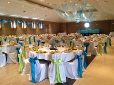 Turquoise Malibu Lime Green Satin Sashes On White Chair Covers Quinceanera