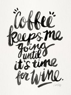 Coffee & Wine - Black Ink Art Print by Cat Coquillette - X-Small Wine And Coffee Bar, Coffee Mugs, Coffee Beans, Iced Coffee, Coffee Vodka, Coffee Americano, Folgers Coffee, Coffee Area, Coffee Percolator