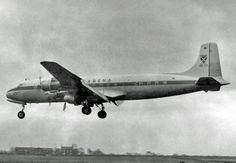 Douglas DC-6B OO-CTI of SABENA Belgian Airlines landing at Manchester Airport after a non-stop flight from New York (Idlewild) (later JFK) in 1955  By RuthAS (Own work) [CC BY 3.0 (http://creativecommons.org/licenses/by/3.0)], via Wikimedia Commons