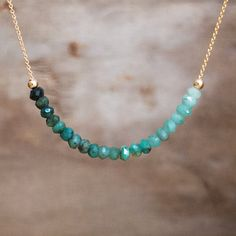 Ombre Emerald Necklace May Birthstone Emerald Row by AbizaJewelry