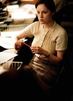 The sweaters of Bletchley Circle: Lucy in the decoding room. // They've got a mean sweater game.
