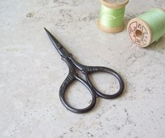 Vintage Sewing Scissors Embroidery Scissors Sewing Box Needle Thread Thimble Sewing Room by cynthiasattic on Etsy