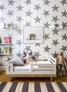 Toddler's Room Decor - love the mix of stars and stripes and the elephant print!
