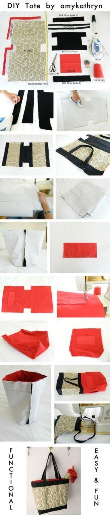 Do it yourself Make your own tote. weekend craft diy tote bag by Lyons Lyons Lyons Lyons Lyons Lyons K Barber Sewing Hacks, Sewing Tutorials, Sewing Crafts, Sewing Projects, Sewing Patterns, Bag Patterns, Diy Crafts, Sacs Tote Bags, Diy Tote Bag