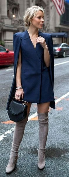 Navy Cape Blazer, Black Bag, Gray Suede Overknees | Sophisticated Spring Style