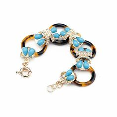 Jewelry Tortoise Circle Link Bubble Statement Crystal Bracelet Christmas gift #Beaded