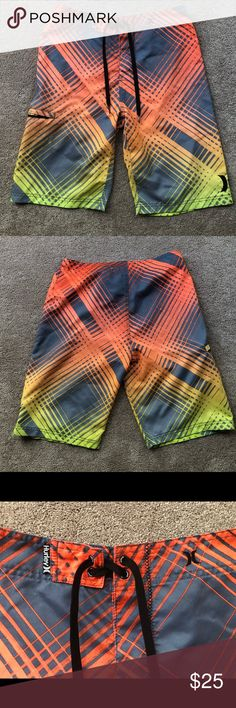 b95bbba620 Hurley Orange/Gray Boardshorts Swim Trunks Waist 16.25 Hips 19.25 Inseam  10.5 Length: 21