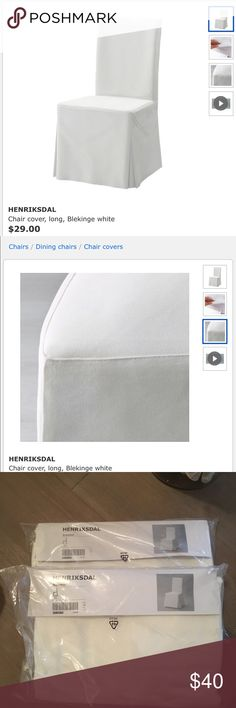 Shop Women's IKEA White size OS Other at a discounted price at Poshmark. 2 covers brand new in packaging. Being sold as Sold by daisybeee. Henriksdal Chair Cover, Ikea Chair, Chair Covers, Dining Chairs, Packaging, Closet, Chair Sashes, Armoire, Dining Chair