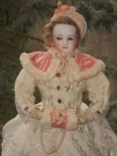 """14"""", 36cm.~~~ Beautiful Early French Bisque Poupee in Gorgeous Winter-Costume from whendreamscometrue on Ruby Lane"""