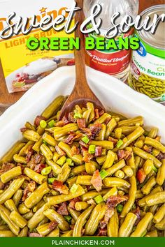 Ranch Style Green Beans - Plain Chicken Baked Green Beans, Can Green Beans, Green Beans With Bacon, Frozen Green Beans, Black Beans, Frozen Fruit, Green Onions, Vegetable Side Dishes, Side Dishes Easy