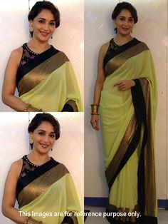 Indian Bollywood Replica Madhuri Stunning Gorgeous Look Party wear Saree sari Bollywood Sarees Online, Bollywood Designer Sarees, Bollywood Lehenga, Designer Sarees Online, Indian Bollywood, Indian Attire, Indian Wear, Indian Dresses, Indian Outfits