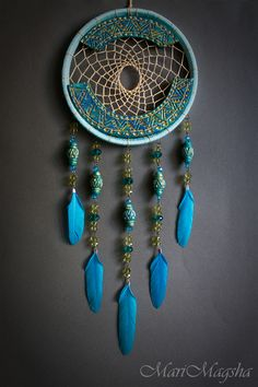 Hunters handmade dreams. Order Dreamcatcher. MariMagsha (Maria). Arts and crafts fair. Light turquoise, dream catcher, flowers