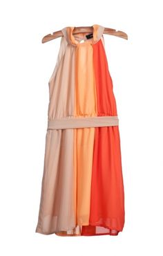 Halterneck Sleeveless Pleating Color Block Chiffon Dress