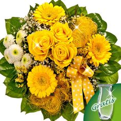 Spring Flower Bouquet Greeting with vase - [3393]  This bouquet includes 3 yellow roses, 3 yellow germinis, 1 yellow limonium, a nice ribbon, white santini balls and plenty of greens. Included: Free vase