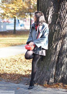 #szkocka krata #college #coat #jacket #street #shoes #mini #skirt #scarf