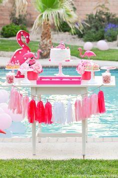 Flamingo Pool Art Summer Birthday Party Flamingo dessert table at a pink flamingo Pool Art Birthday Party by Kara Allen Birthday Table Decorations, Party Table Centerpieces, Birthday Party Desserts, Birthday Party Tables, Art Birthday, Dessert Tables, Pink Flamingo Party, Flamingo Birthday, Flamingo Pool