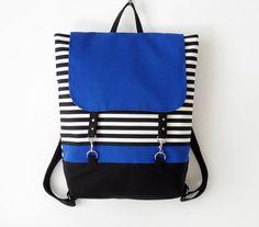 BLUE. Black stripe canvas backpack / Laptop backpack / School bag / Laptop bag / With clasp closure, Front pocket, Design by BagyBags
