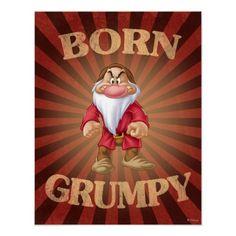 Shop Born Grumpy Notebook created by SevenDwarfs. Grumpy Dwarf, Grumpy Cat, Snow White Seven Dwarfs, I Love Math, Disney Posters, Disney Quotes, Disney Cartoons, Cat Posters, Custom Posters