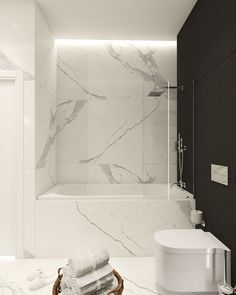 Modern bathroom inspiration with marble, round mirrors and black and white – Ch… – Marble Bathroom Dreams