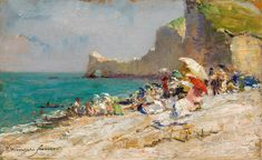 View The beach of Etretat Normandy by Olga Wisinger-Florian on artnet. Browse upcoming and past auction lots by Olga Wisinger-Florian. Gustav Klimt, Etretat Normandie, Process Of Evolution, Normandy, Landscape Paintings, Flower Power, Art Nouveau, Modern Art, Museum
